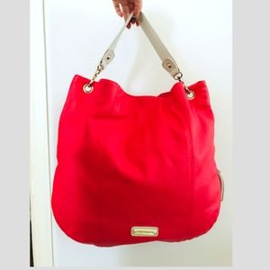 Steve Madden coral red ivory expandable  zip tote